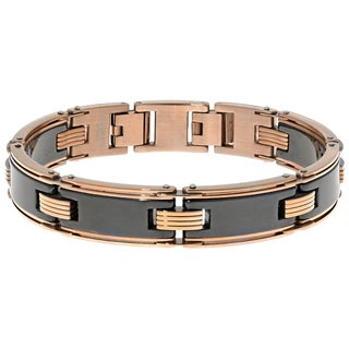 Stainless Steel and Ceramic Two-tone Link Bracelet