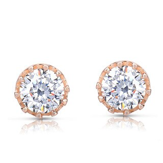 Collette Z Rose Goldplated Sterling Silver Cubic Zirconia Stud Earrings
