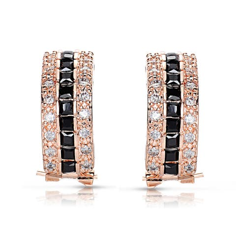 Collette Z Rose Goldplated Sterling Silver 3-row Black and White Cubic Zirconia Earrings