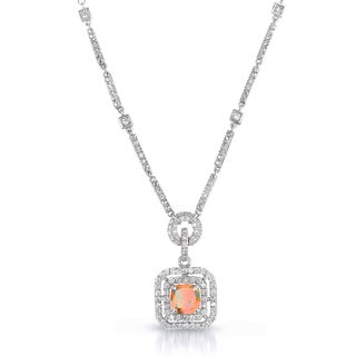 Collette Z Sterling Silver Champagne and White Cubic Zirconia Square Drop Necklace
