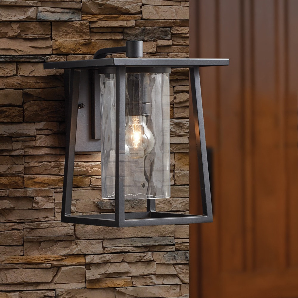 shop quoizel 1 light lodge mystic black wall lantern free shipping on orders over 45. Black Bedroom Furniture Sets. Home Design Ideas