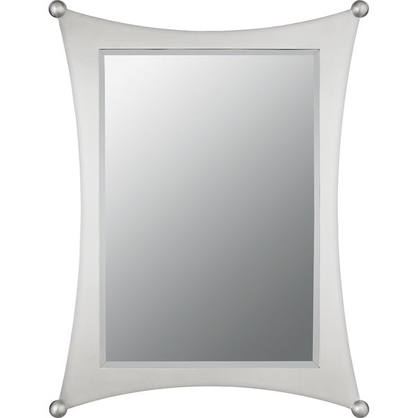 Shop Quoizel Jasper Small Brushed Nickel Curved-frame Mirror - Grey ...