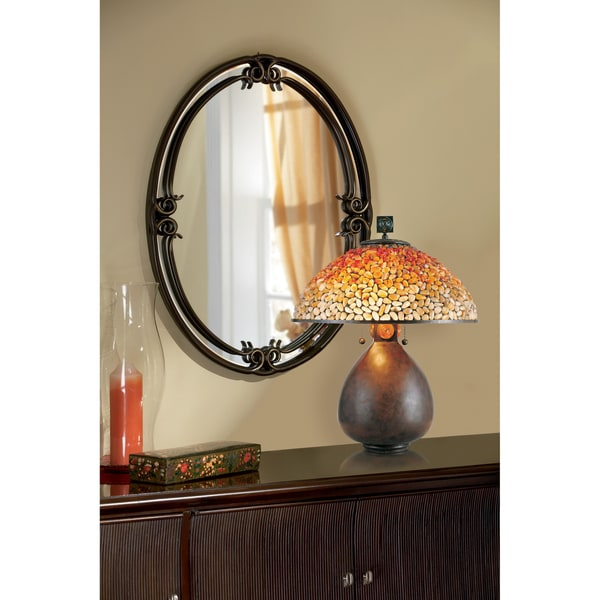 Quoizel Duchess Palladian Bronze Large Oval-shaped Mirror - Brown