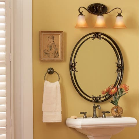 Quoizel Duchess Palladian Bronze Iron Small Oval-shaped Mirror - Brown