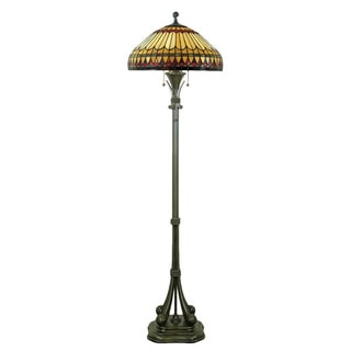 West End 2-light Brushed Bullion and Art GlassFloor Lamp