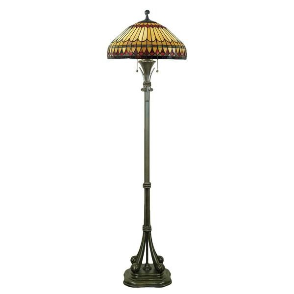 Quoizel West End 2-light Brushed Bullion and Art GlassFloor Lamp