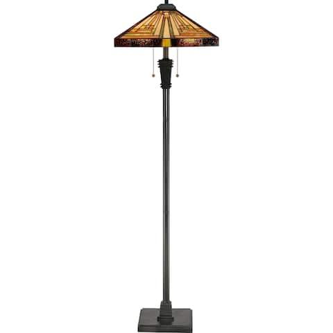 Quoizel Stephen 2-light Vintage Bronze and Art Glass Floor Lamp