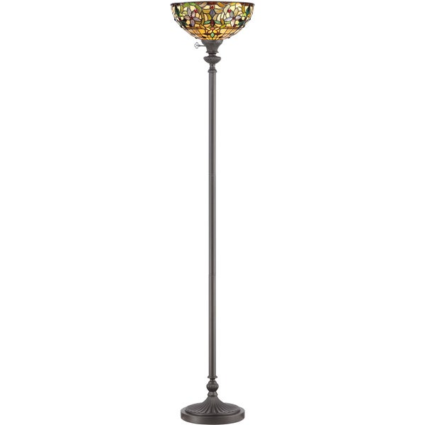 Quoizel Kami 1-light Vintage Bronze and Art Glass Torchiere