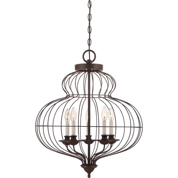 Quoizel Laila 5-light Rustic Antique Bronze Cage Chandelier