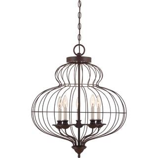 Laila 5-light Rustic Antique Bronze Cage Chandelier