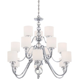 Downtown Polished Chrome and Opal Glass 3-tier 15-light Chandelier