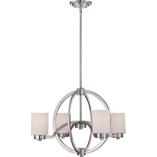 Celestial Brushed Nickel and Opal Glass 4-light Chandelier