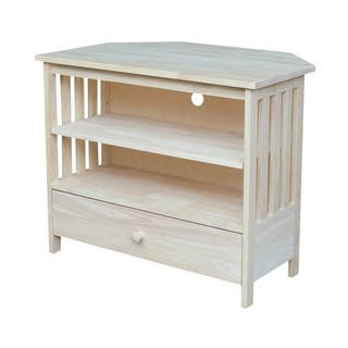 unusual solid wood media cabinet. Unfinished Solid Parawood Mission Corner TV Stand Stands For Less  Overstock com