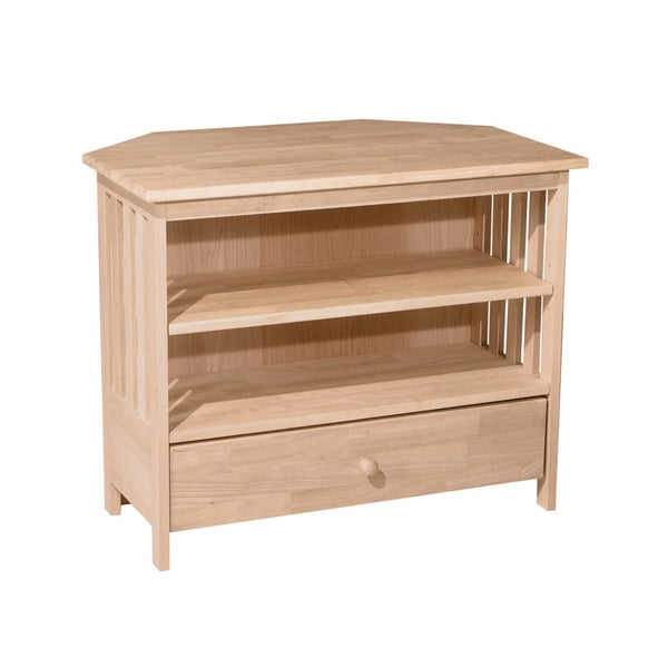 Unfinished Solid Parawood Mission Corner TV Stand