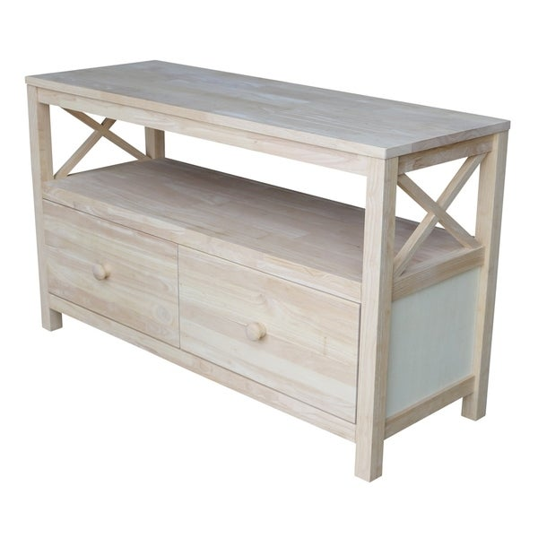 Unfinished Solid Parawood X Sides TV Stand