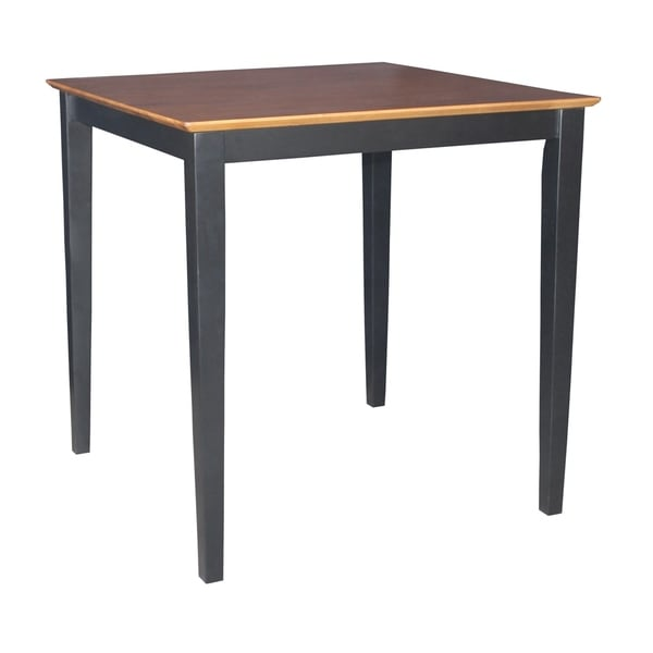 International Concepts Two-tone Black/ Cherry Solid Table with Shaker Legs - Black/Cherry