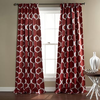 Gracewood Hollow Chidzero Trellis Curtain Panel Pair (Red)