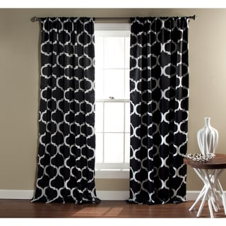 Gracewood Hollow Chidzero Trellis Curtain Panel Pair (Black)