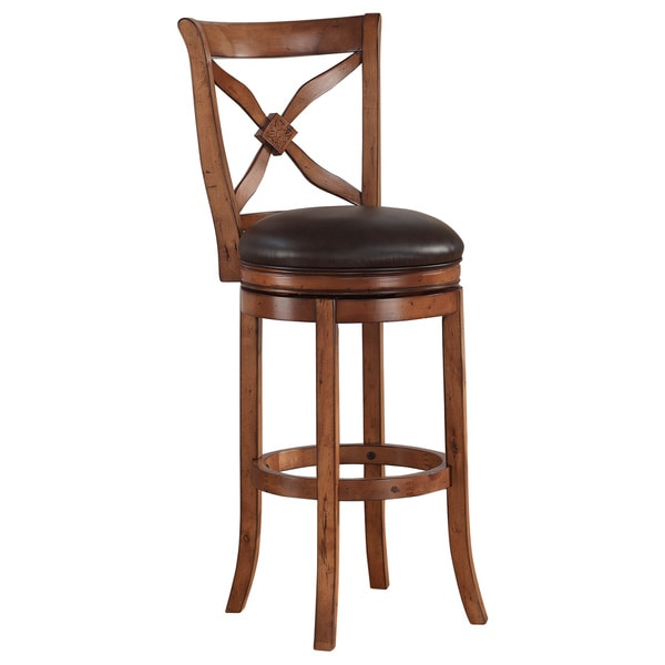 Lucca 26 Inch Brown Swivel Wood Counter Stool By Greyson