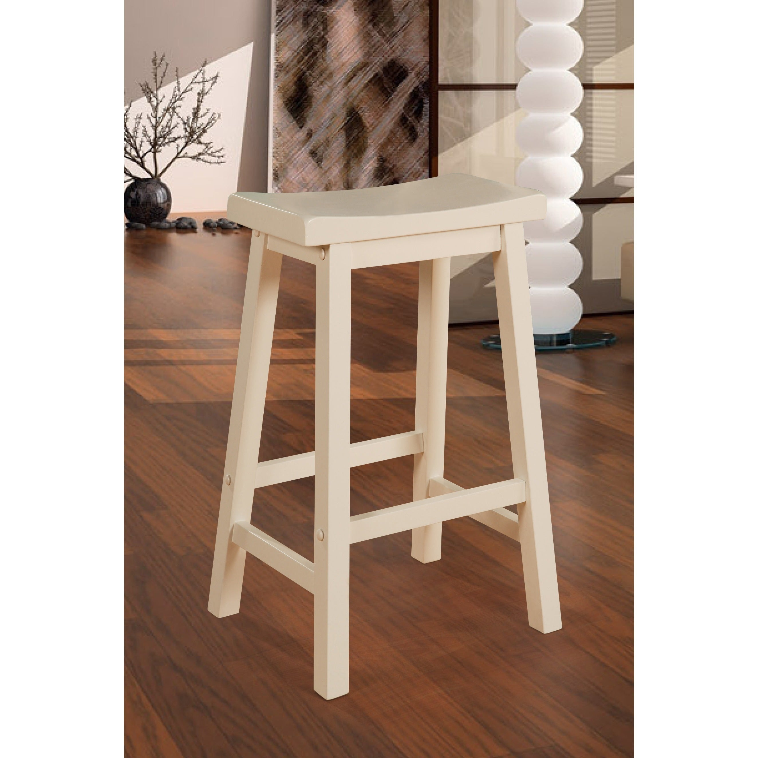 Shop Powell Laurell Off White Saddle Bar Stool Free