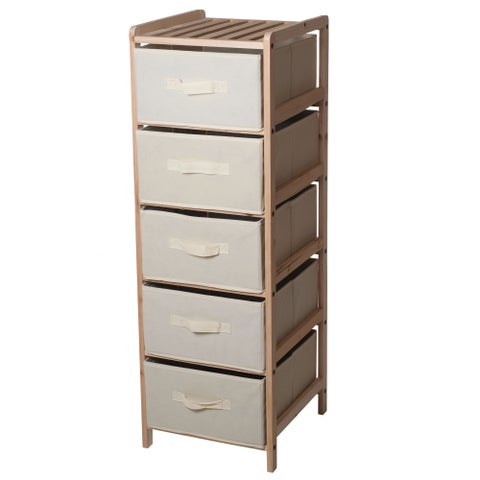 Windsor Home Natural Wood Shelf Organizer with Fabric Storage Bins
