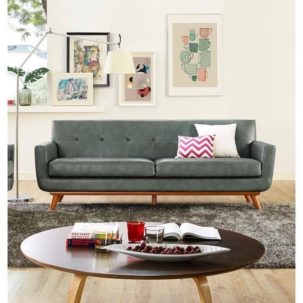 Sectional Sofas For Sale In Huntsville Al: Shop Lyon Smoke Grey Leather Sofa