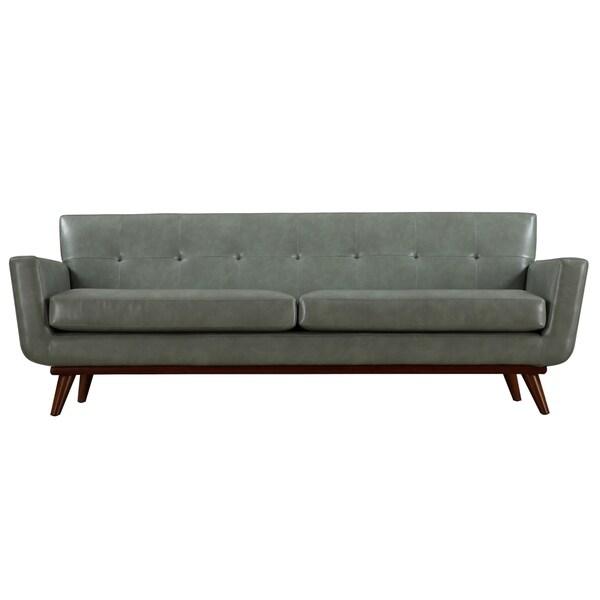 Lyon Smoke Grey Leather Sofa Free Shipping Today