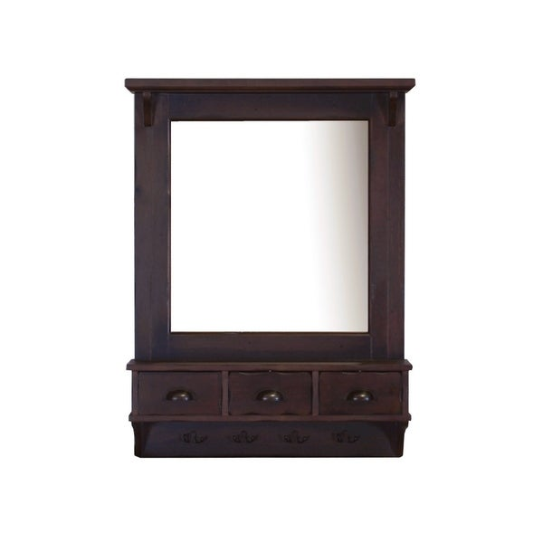 shop bombay brown wall mirror with drawers and hooks free shipping today overstock 9408928. Black Bedroom Furniture Sets. Home Design Ideas