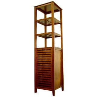 light walnut wood spa bath tower with builtin hamper