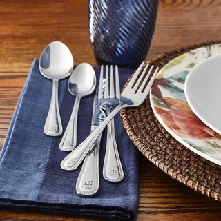 RiverRidge Monogrammed Stainless Steel Beaded 46-piece Flatware Set