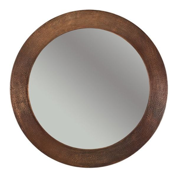 Premier Copper Products Hand-hammered Round Copper Mirror