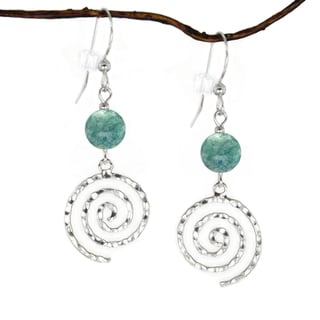 Jewelry by Dawn Sterling Silver Green River Stone Hammered Swirl Dangle Earrings