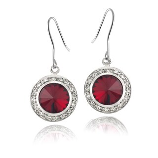 Crystal Ice Silvertone Round Crystal Halo Earrings (2 options available)