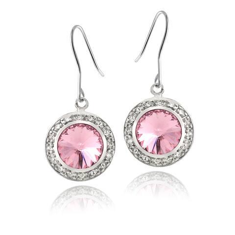 Crystal Ice Silvertone Round Crystal Halo Earrings