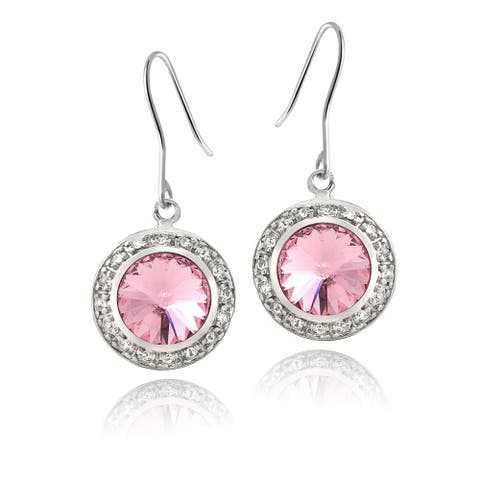 Crystal Ice Silvertone Round Crystal Halo Earrings
