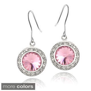 Crystal Ice Silvertone Swarovski Crystal Halo Earrings