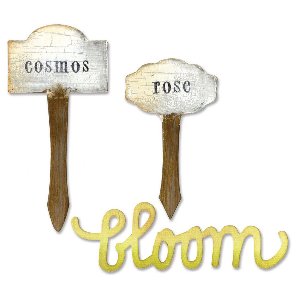 Sizzix Bigz Die Phrase, Bloom and Plant Markers by Eileen...