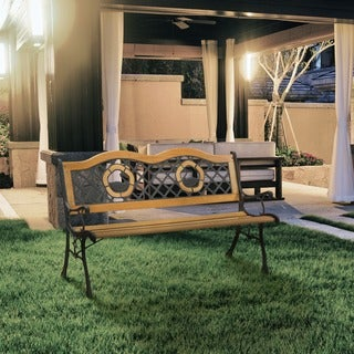 Furniture of America Etain Elegant Natural Oak Outdoor Bench