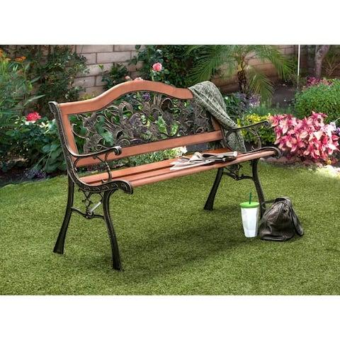 Furniture of America Jyon Cottage Oak Camel Back Garden Bench