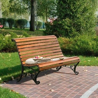 Furniture of America Ellissa Natural Oak Outdoor Bench