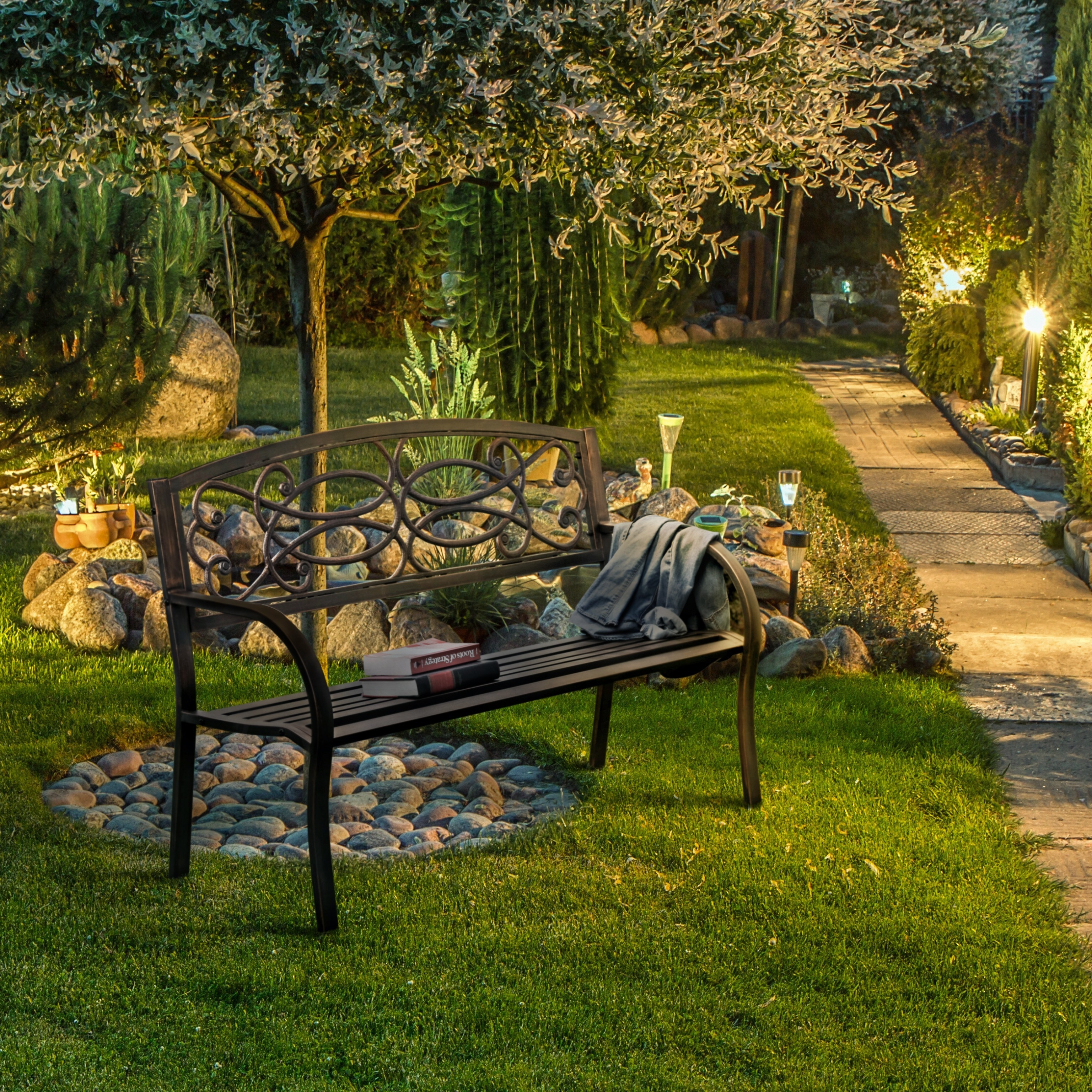 Swell Flints Industrial Powdered Bronze Outdoor Garden Bench By Foa Bralicious Painted Fabric Chair Ideas Braliciousco