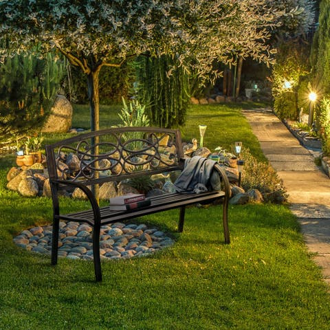 Furniture of America Lord Contemporary Bronze Metal Outdoor Garden Bench