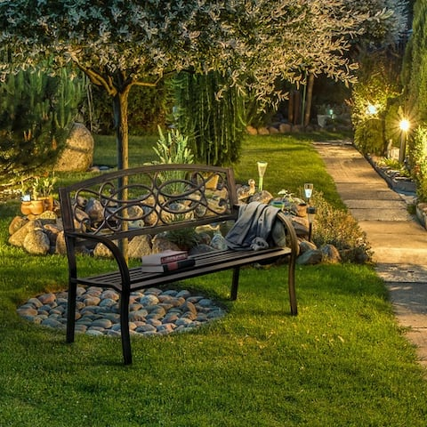 Furniture of America Lord Industrial Bronze Metal Outdoor Garden Bench