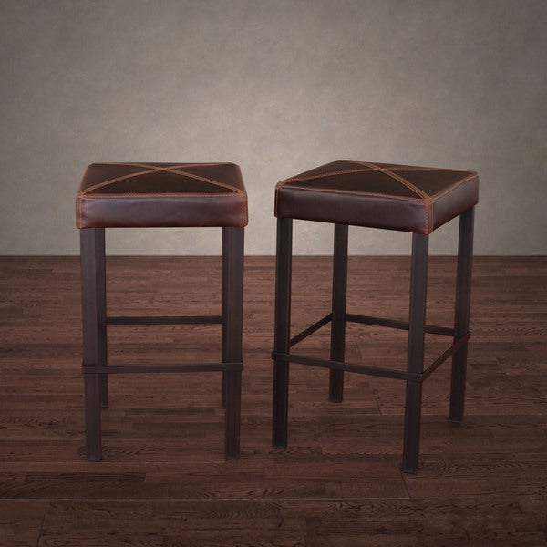 Antique Steel Vintage Tobacco Leather Counter Stool Set