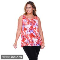 White Mark Women's Plus Size Floral Tank Top