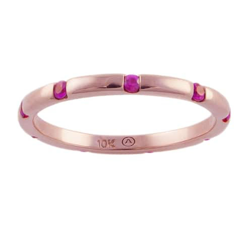 10k Rose Gold Pink Sapphire Eternity Band
