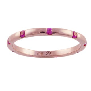 Beverly Hills Charms 10k Rose Gold Pink Sapphire Eternity Band