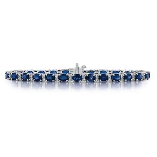 14k White Gold 3/4ct TDW Diamond and Sapphire Bracelet (G-H, SI1-SI2)