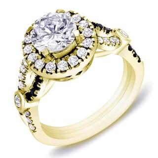 Auriya 14k Yellow Gold 1 3/5 ct TDW Certified Black and White Diamond Braided Ring