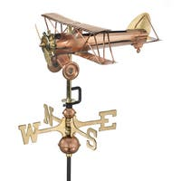 Biplane Pure Copper Garden Weathervane with Garden Pole by Good Directions